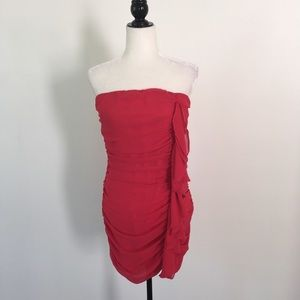 Ya Los Angeles Red Strapless Ruched Dress